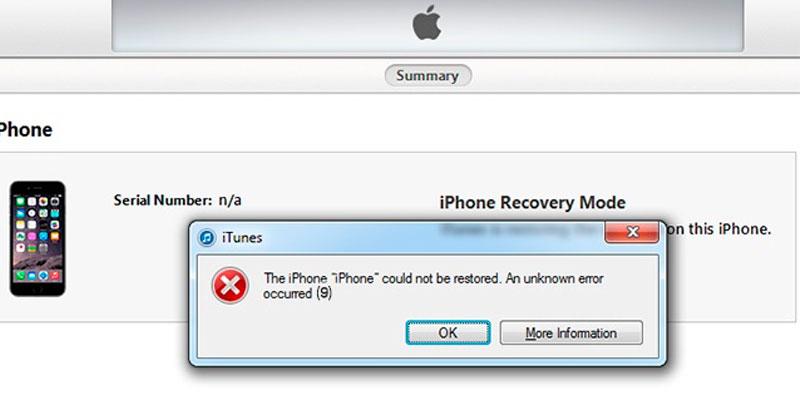error 9 - Cómo reparar el código de error 9 de iTunes, Apple iPhone XR no se pudo restaurar [Guía de solución de problemas]